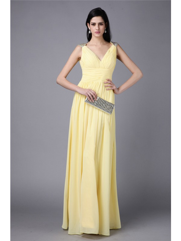Just My Style Sheath Style V-neck Beading Long Chiffon Dresses