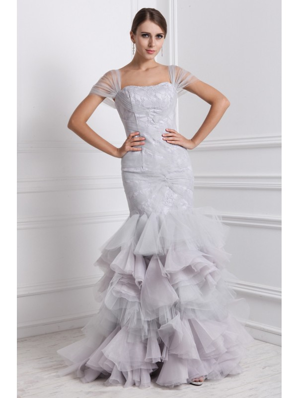 Absolute Lovely Mermaid Style Straps Ruffles Long Organza Dresses
