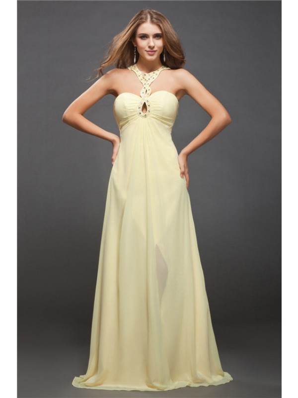 Treasured Reveries Sheath Style Halter Beading Long Chiffon Dresses