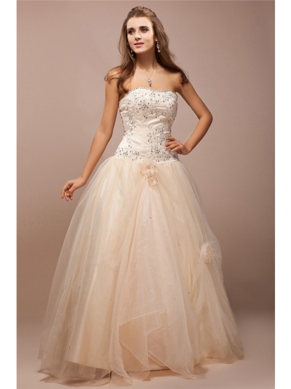 Lively Identity Ball Gown Strapless Lace Long Beading Net Satin Dresses