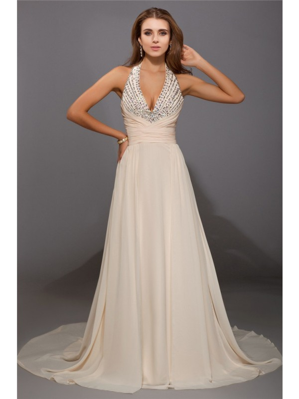 Fabulous Fit Sheath Style V-neck Beading Long Chiffon Dresses