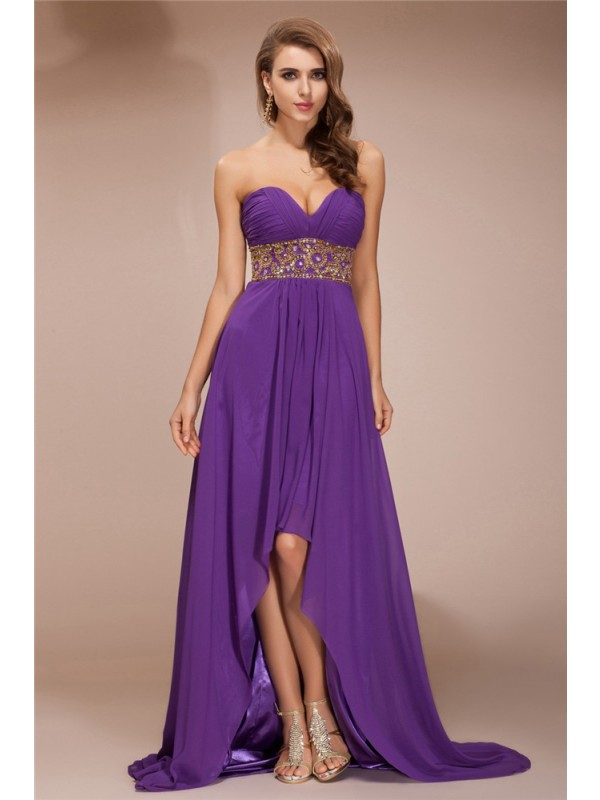 Automatic Classic Princess Style Sweetheart Beading High Low Chiffon Dresses