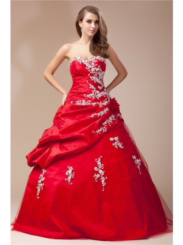 Cordially Delighted Ball Gown Sweetheart Beading Lace Long Taffeta Net Dresses