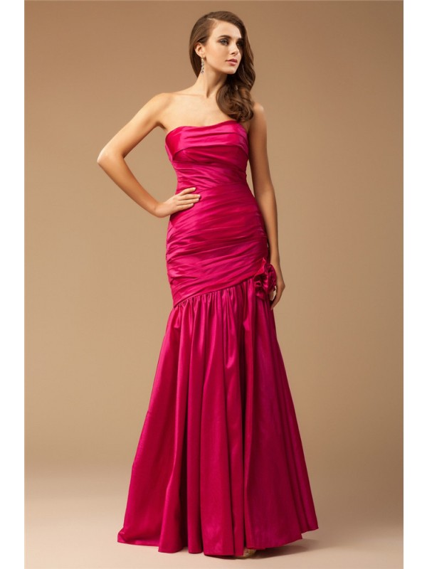 Styled to Smile Mermaid Style Strapless Ruffles Long Taffeta Dresses