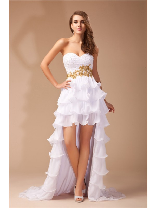 First Impressions Princess Style Sweetheart High Low Beading Chiffon Dresses