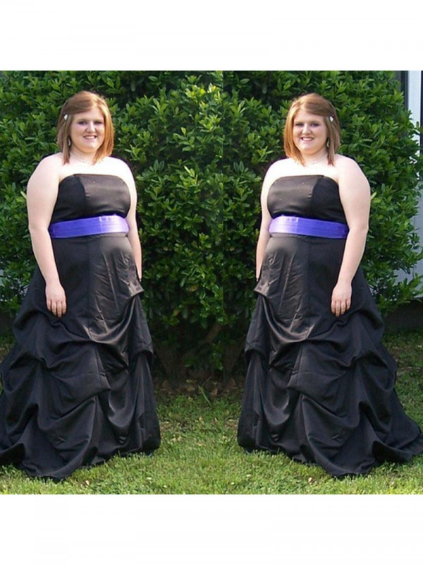 Voiced Vivacity Princess Style Strapless With Sash/Ribbon/Belt Sweep/Brush Train Satin Plus Size Dresses