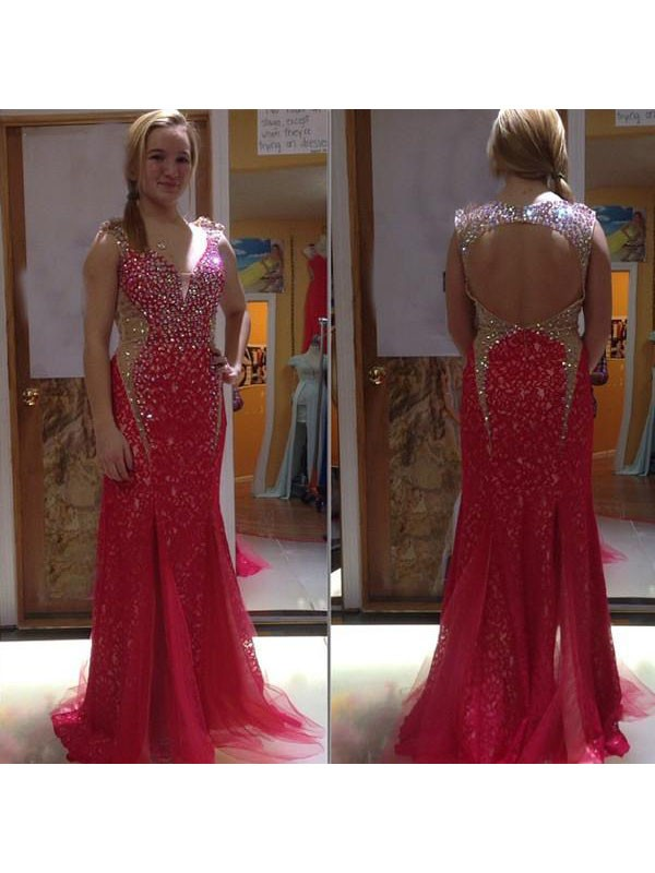 Dancing Queen Mermaid Style V-neck With Beading Sweep/Brush Train Tulle Plus Size Dresses