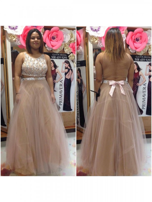 Festive Self Princess Style Scoop With Beading Floor-Length Tulle Plus Size Dresses