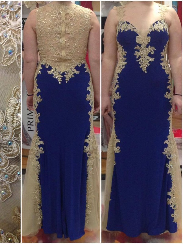 Styled to Smile Sheath Style Straps With Applique Floor-Length Elastic Woven Satin Plus Size Dresses
