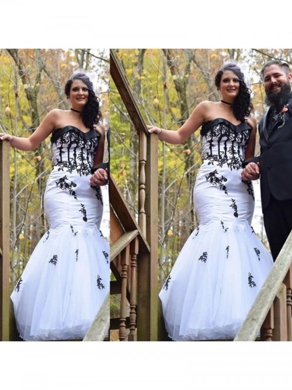 Pleased to be Me Mermaid Style Sweetheart With Applique Floor-Length Tulle Plus Size Dresses