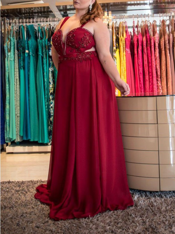 Naturally Chic Princess Style Straps With Beading Sweep/Brush Train Chiffon Plus Size Dresses
