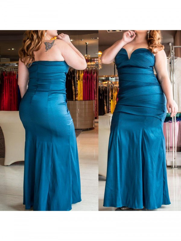 Modern Mood Mermaid Style Sweetheart With Ruched Floor-Length Elastic Woven Satin Plus Size Dresses