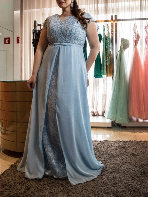 Intuitive Impact Princess Style Scoop With Lace Floor-Length Chiffon Plus Size Dresses