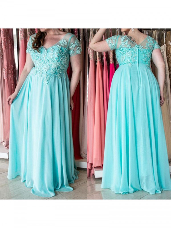 Pleasant Emphasis Princess Style Sweetheart With Applique Floor-Length Chiffon Plus Size Dresses
