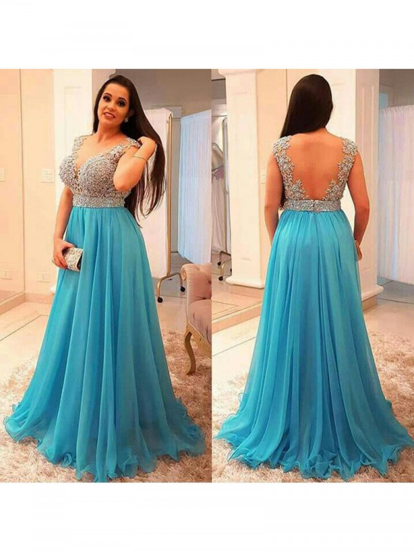 Limitless Looks Princess Style V-neck With Beading Floor-Length Chiffon Plus Size Dresses