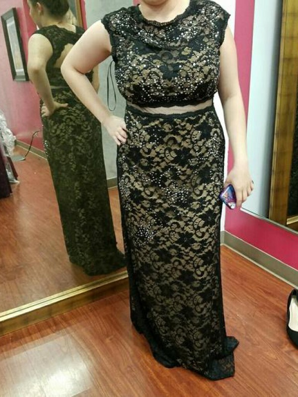 Fabulous Fit Sheath Style Scoop With Beading Floor-Length Lace Plus Size Dresses