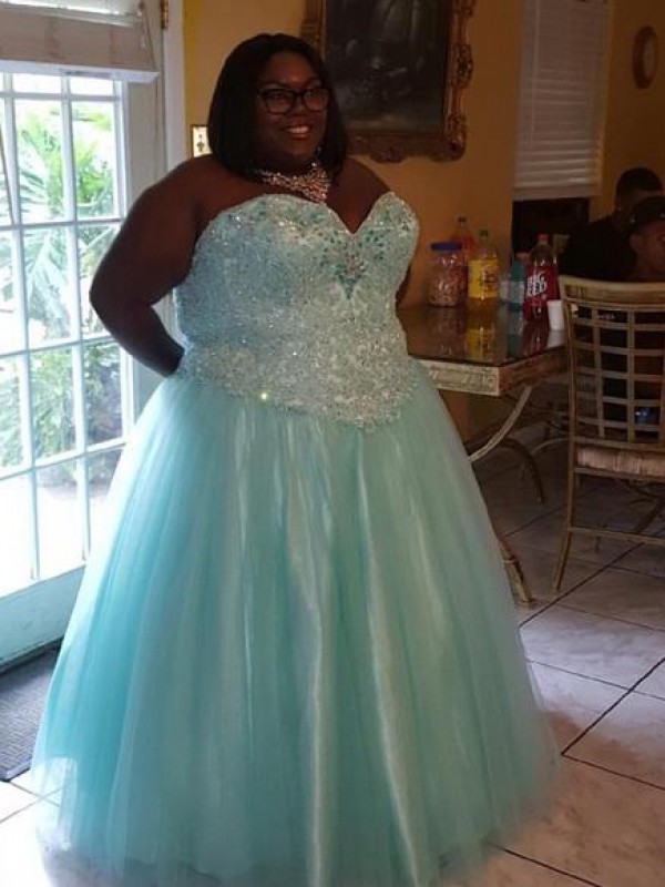 Limitless Looks Ball Gown Sweetheart With Beading Floor-Length Organza Plus Size Dresses