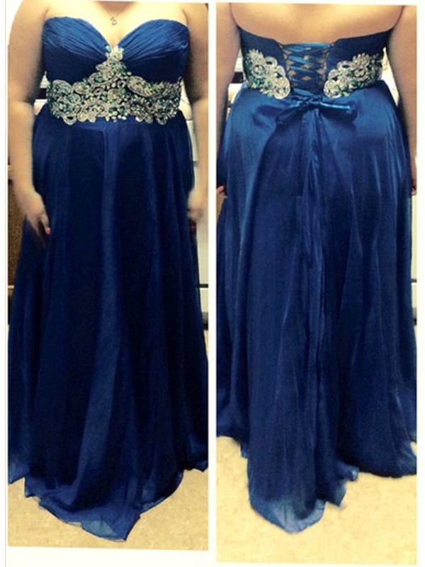Voiced Vivacity Princess Style Sweetheart With Beading Floor-Length Chiffon Plus Size Dresses