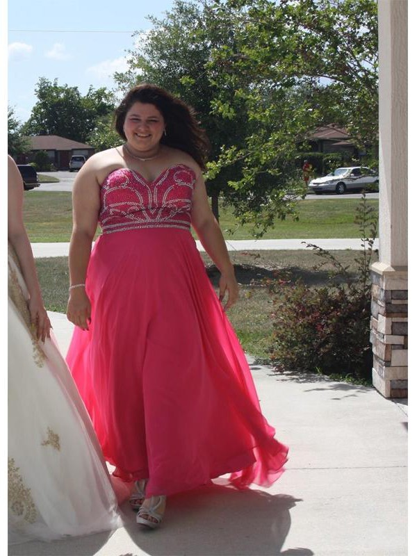 Naturally Chic Princess Style Sweetheart With Beading Floor-Length Chiffon Plus Size Dresses