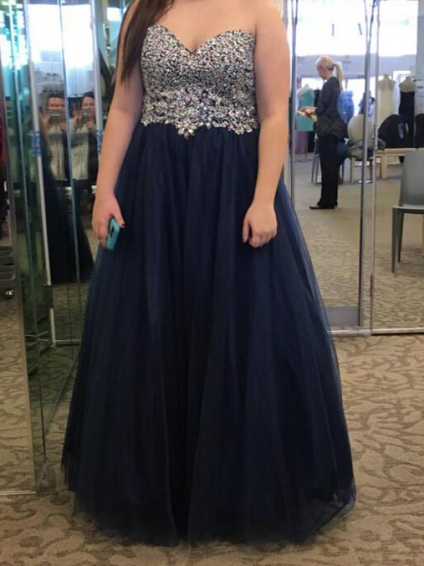 Limitless Looks Princess Style Sweetheart With Beading Floor-Length Tulle Plus Size Dresses