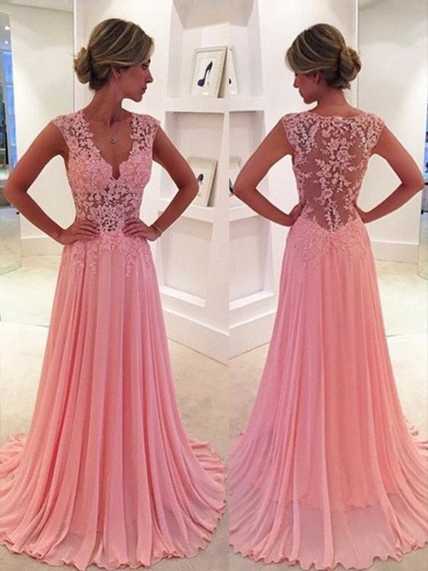 Modern Mood Princess Style Chiffon Lace V-neck Sweep/Brush Train Dresses