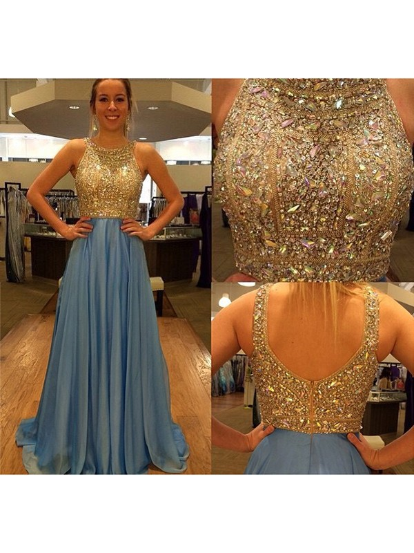 Yours Truly Princess Style Scoop Chiffon Beading Sweep/Brush Train Dresses