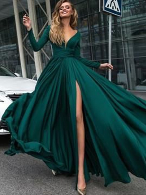 Dashing Darling Princess Style V-Neck Floor-Length With Ruffles Satin Chiffon Dresses