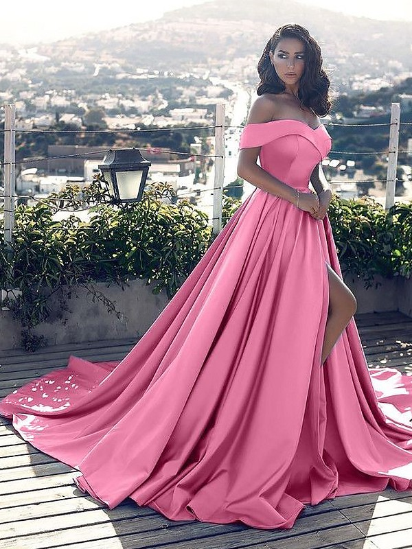 Aesthetic Honesty Princess Style Off-the-Shoulder With Ruffles Satin Court Train Dresses
