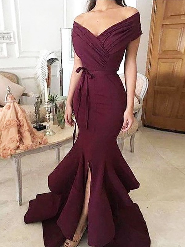 Absolute Lovely Mermaid Style Off-the-Shoulder Floor-Length With Ruched Stretch Crepe Dresses