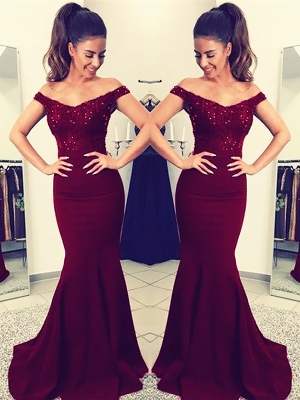 Pleasant Emphasis Mermaid Style Off-the-Shoulder Sweep/Brush Train With Lace Elastic Woven Satin Dresses