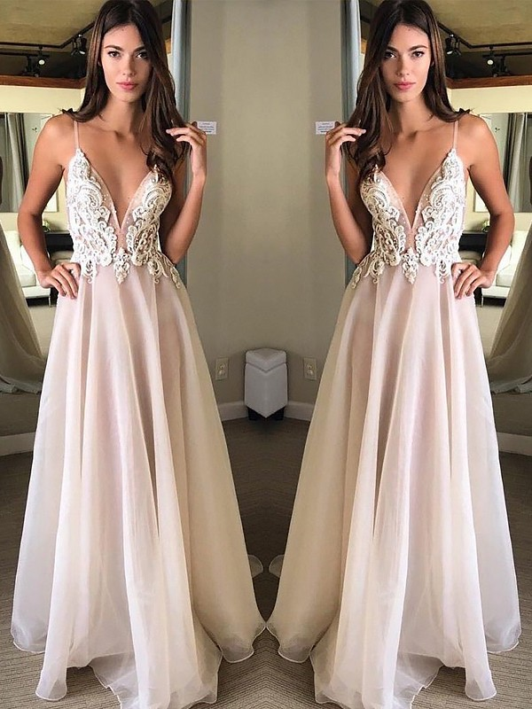 Time to Shine Princess Style Spaghetti Straps Sweep/Brush Train With Applique Chiffon Dresses