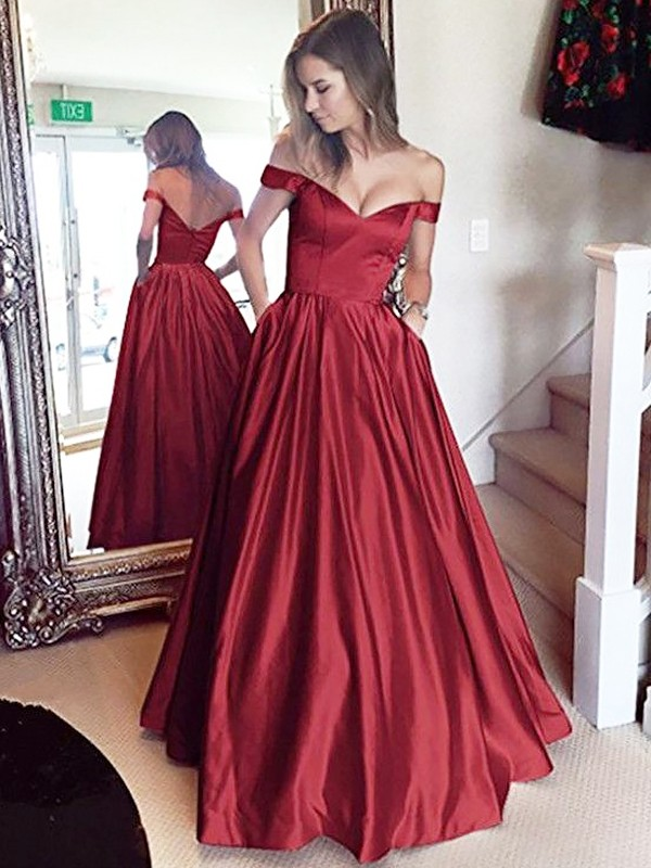 Pleasant Emphasis Princess Style Off-the-Shoulder Floor-Length Satin With Beading Dresses