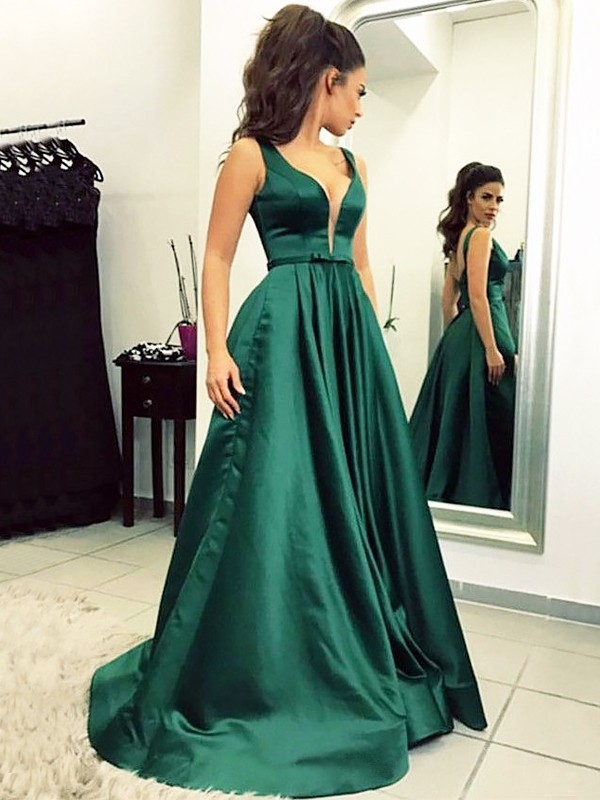 Comfortably Chic Princess Style V-neck Sweep/Brush Train Satin With Ruffles Dresses