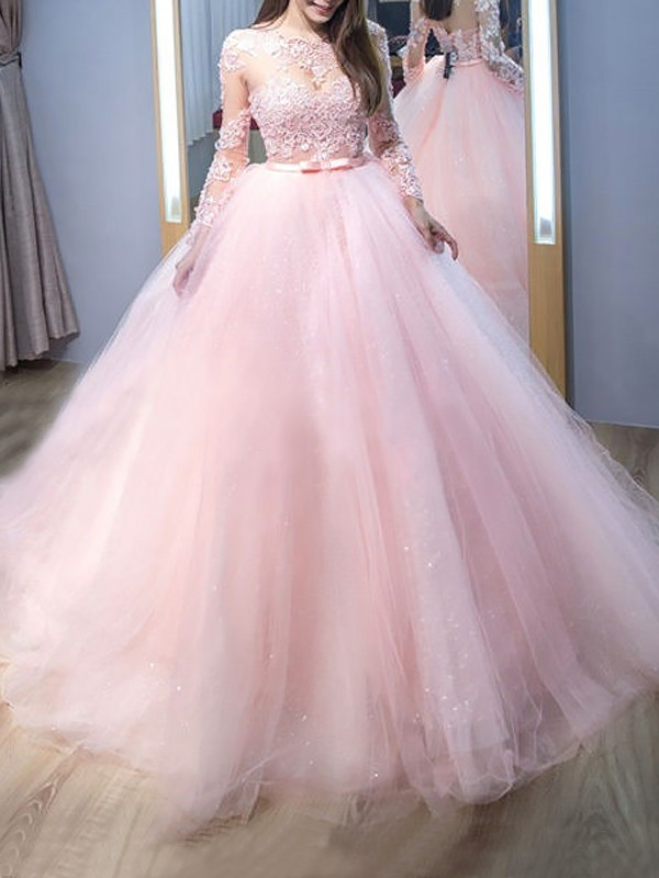 Festive Self Ball Gown Jewel Sweep/Brush Train With Lace Tulle Dresses