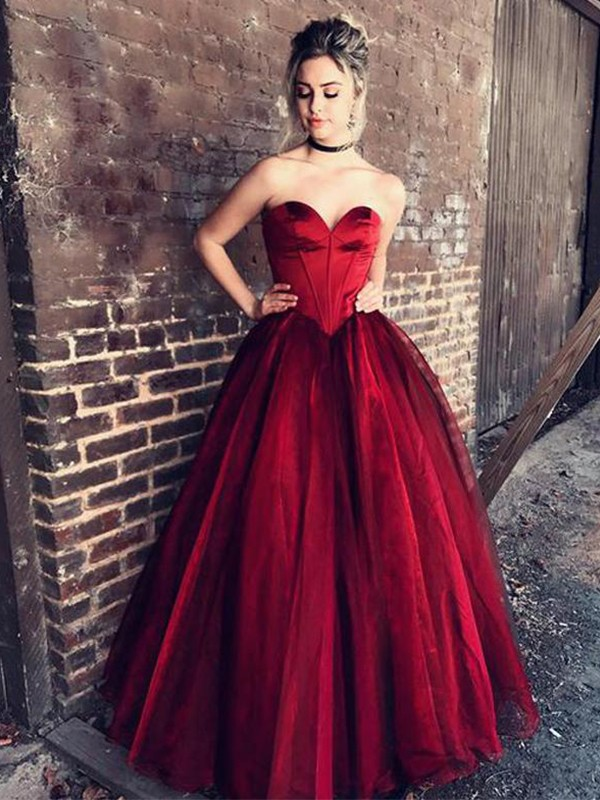 Dancing Queen Ball Gown Sweetheart Floor-Length With Ruffles Tulle Dresses