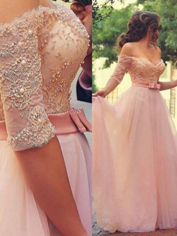 Lively Identity Princess Style Off-the-Shoulder Floor-Length With Lace Tulle Dresses