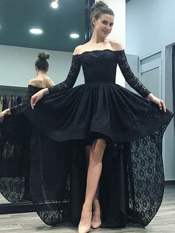 Aesthetic Honesty Princess Style Off-the-Shoulder Sweep/Brush Train Asymmetrical Lace Dresses