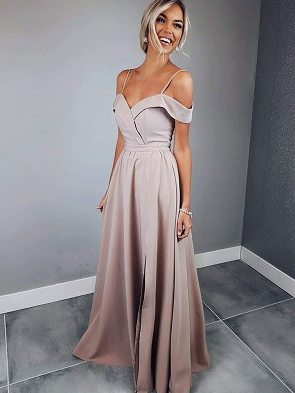 First Impressions Princess Style Spaghetti Straps Floor-Length With Ruched Satin Dresses
