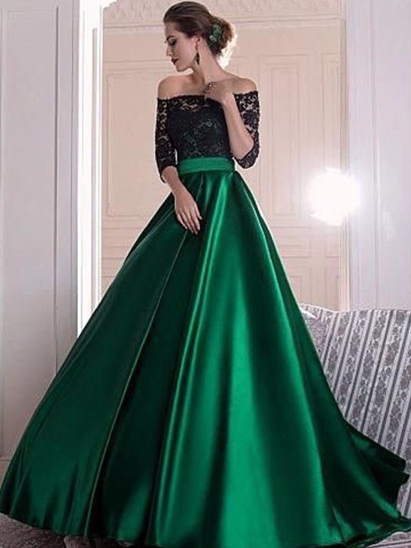 Visual Moment Princess Style Off-the-Shoulder Lace With Ruched Sweep/Brush Train Satin Dresses
