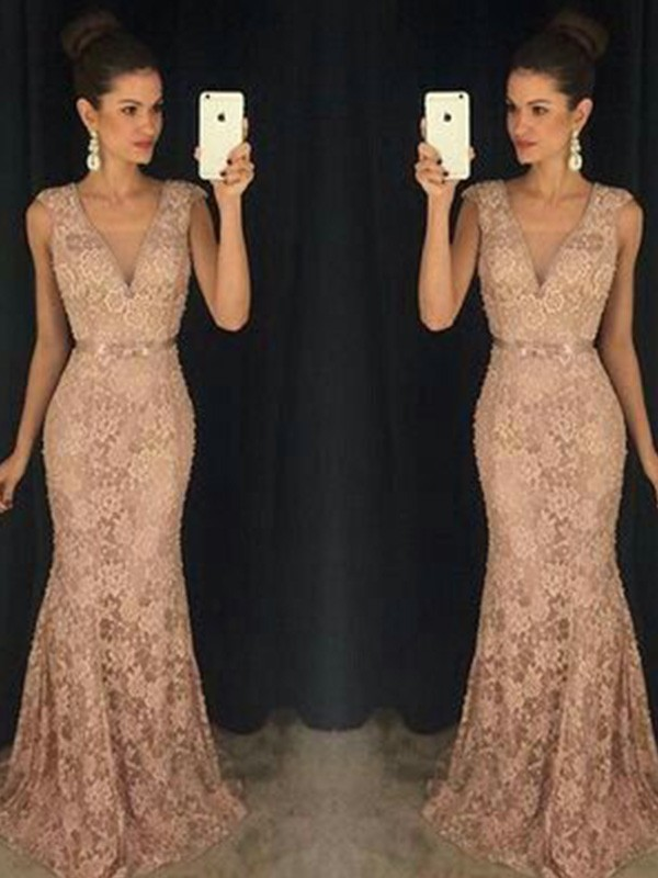 Too Much Fun Mermaid Style V-neck Lace Sweep/Brush Train Dresses