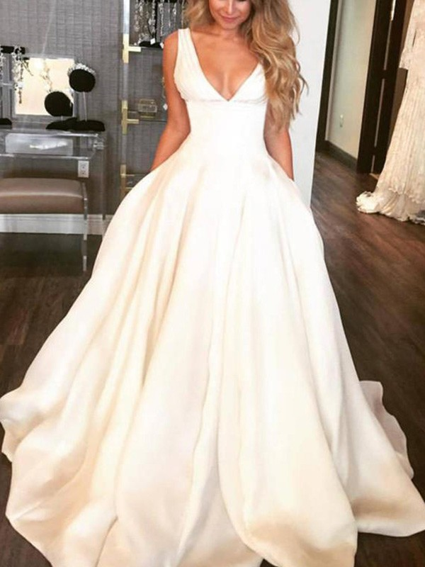 Fresh Picks Princess Style V-neck Sweep/Brush Train With Ruffles Satin Wedding Dresses