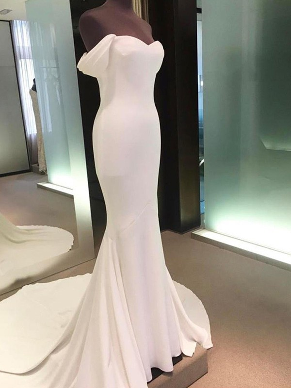 Easily Adored Sheath Style Off-the-Shoulder Court Train Spandex Wedding Dresses