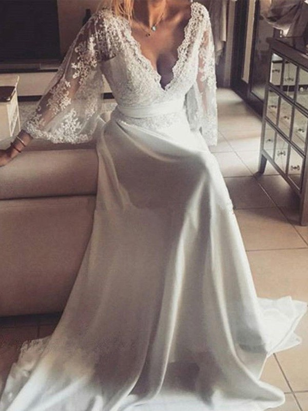Befits Your Brilliance Princess Style V-neck With Sash/Ribbon/Belt Court Train Lace Wedding Dresses