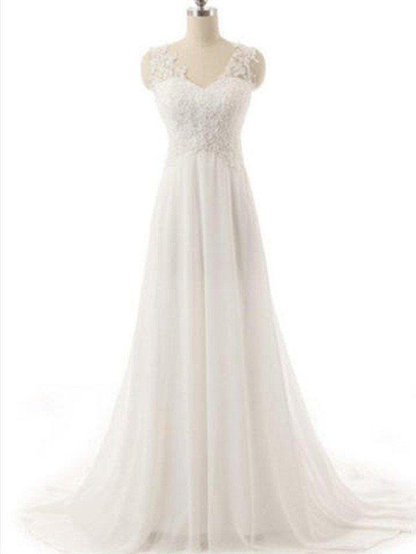 Savor the Occasion Princess Style V-neck Sweep/Brush Train Lace Chiffon Wedding Dresses