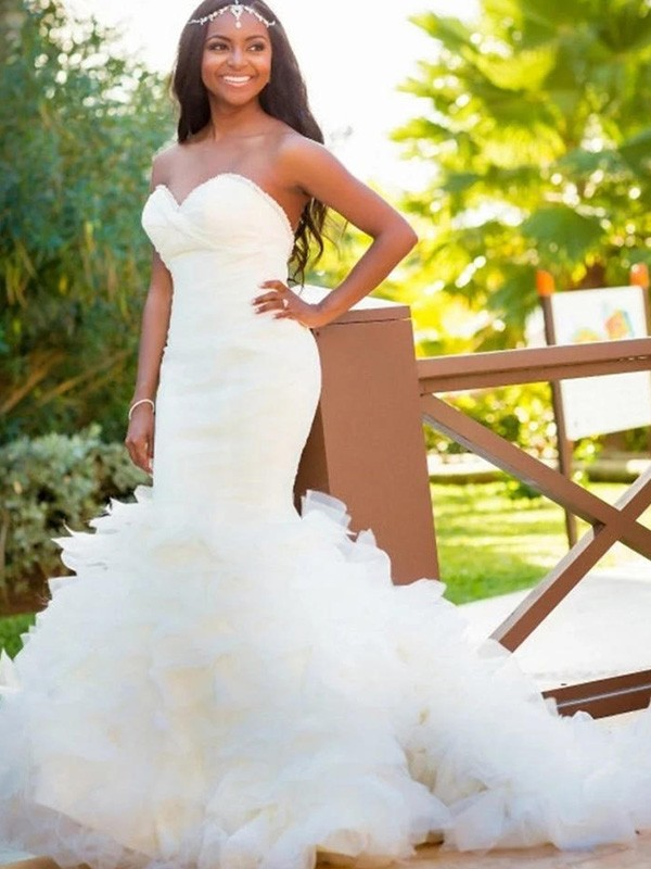 Eye-Catching Charm Mermaid Style Sweetheart Court Train Organza Wedding Dresses