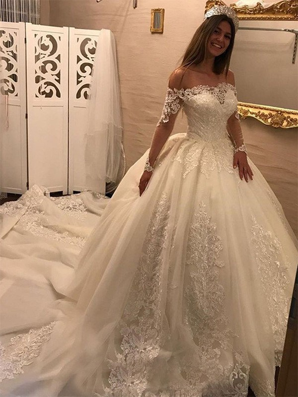 Pleasant Emphasis Ball Gown Off-the-Shoulder Cathedral Train With Applique Tulle Wedding Dresses