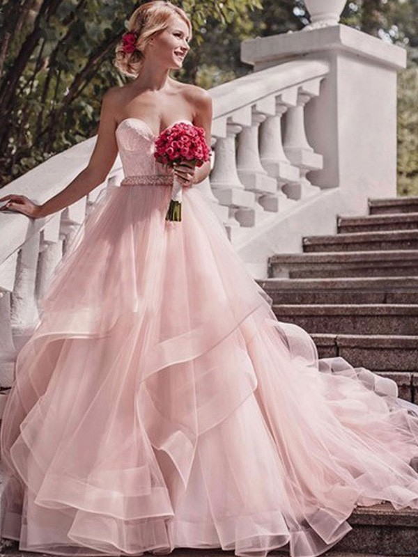 Chic Chic London Ball Gown Sweetheart Court Train With Layers Organza Wedding Dresses