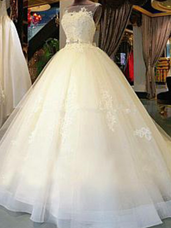 Styled to Smile Ball Gown Scoop Cathedral Train With Sash/Ribbon/Belt With Applique Tulle Wedding Dresses