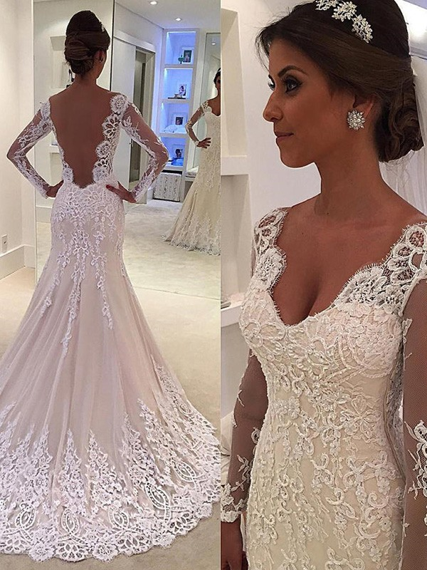 Fabulous Fit Mermaid Style V-neck Court Train Lace Wedding Dresses