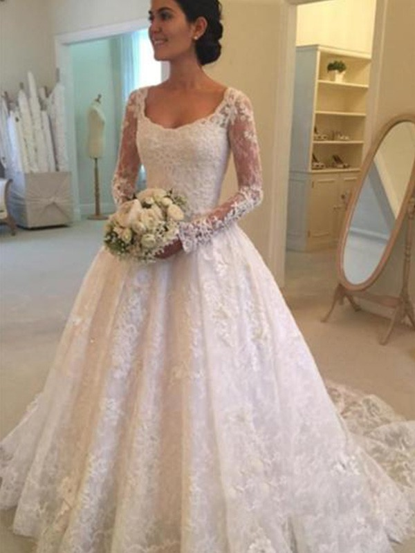 Open to Adoration Ball Gown Scoop Cathedral Train With Ruffles Lace Wedding Dresses